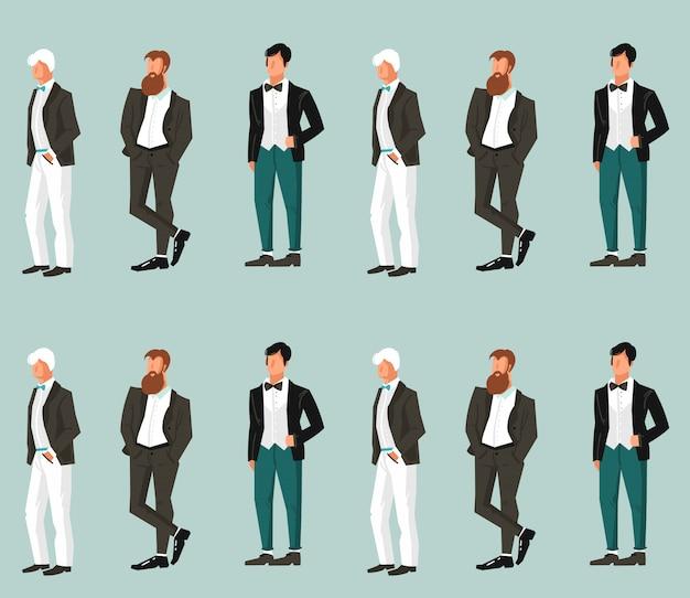 Elemento senza cuciture di celebrazione della stampa del modello dell'illustrazione astratta disegnata a mano dello sposo di nozze del fumetto su fondo blu.