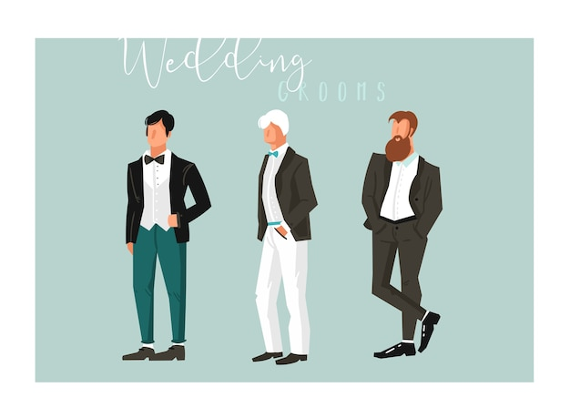 Insieme astratto disegnato a mano della raccolta degli elementi di celebrazione delle illustrazioni dello sposo di nozze del fumetto isolato su fondo blu