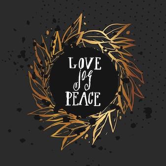 Disegnato a mano astratto natale e anno nuovo disegno calligrafico modello di carta con corona d'oro e lettere scritte a mano moderna fase love joy peace.