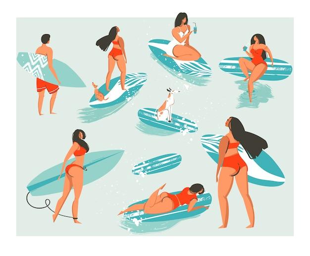 Accumulazione astratta disegnata a mano di gente divertente carina in costume da bagno surf in mare o oceano. gruppo di surfisti felici in abbigliamento da spiaggia con tavole da surf isolato su sfondo bianco
