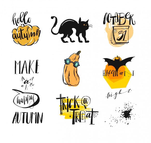 Insieme astratto disegnato a mano della raccolta distintivi di autunno e halloween, etichette, nastri, elementi, carte, icone, stampe, manifesti con zucche, gatto e lettere scritte a mano.