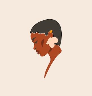 Linea arte contemporanea astratta disegnata a mano, illustrazione di moda con ritratto femminile moderno