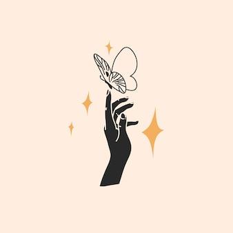 Illustrazione piana astratta disegnata a mano, linea magica arte della farfalla