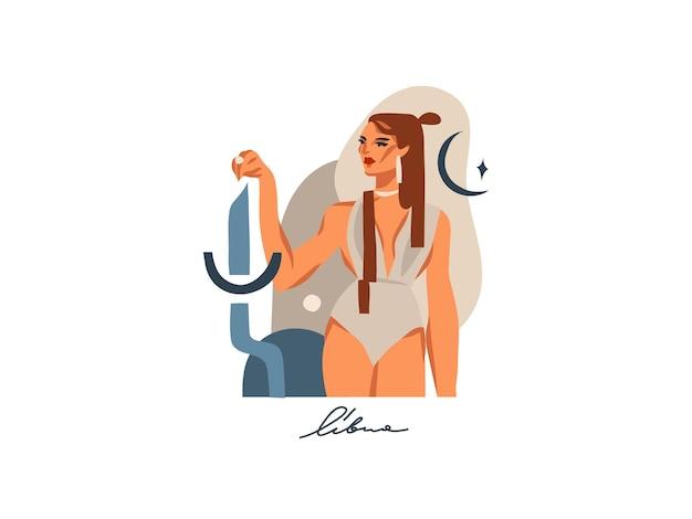 Illustrazione piana astratta disegnata a mano con segno zodiacale bilancia con personaggio femminile magico di bellezza, disegno artistico del fumetto isolato