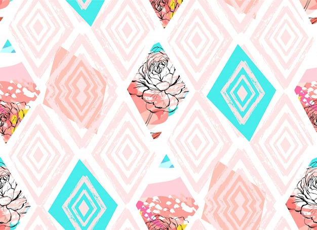 Modello senza cuciture del collage strutturato a mano libera astratto disegnato a mano con il motivo di fiori della molla nel colore pastello su fondo colorato matrimonio, salvo la data, il compleanno, il tessuto di modo, la decorazione.