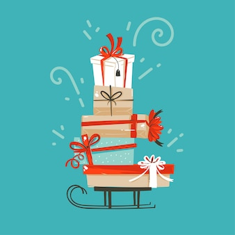 Divertimento disegnato a mano astratto buon natale e felice anno nuovo fumetto illustrazione auguri con scatole regalo sorpresa di natale su sfondo blu