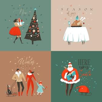 Divertimento astratto disegnato a mano buon natale e felice anno nuovo tempo fumetto illustrazione cartolina d'auguri con scatole regalo a sorpresa di natale, persone e testo di buon natale isolato su sfondo colorato