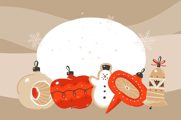Divertimento astratto disegnato a mano buon natale e felice anno nuovo tempo fumetto illustrazione biglietto di auguri con i giocattoli dell'albero di natale su fondo artigianale.