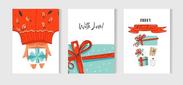 Divertimento astratto disegnato a mano raccolta di carte del fumetto di buon natale insieme con illustrazione carina del cane in confezione regalo a sorpresa e nastro rosso isolato su priorità bassa bianca.