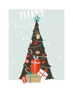 Carta di illustrazione del fumetto di tempo di buon natale di divertimento astratto disegnato a mano con l'albero di natale e contenitori di regalo di sorpresa di natale su fondo blu.