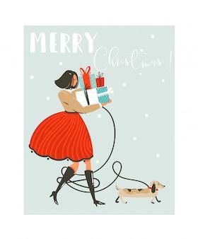 Divertimento disegnato a mano astratto merry christmas time cartoon illustrazione biglietto di auguri con ragazza in abito, cane e molti contenitori di regalo a sorpresa sulla slitta su sfondo blu