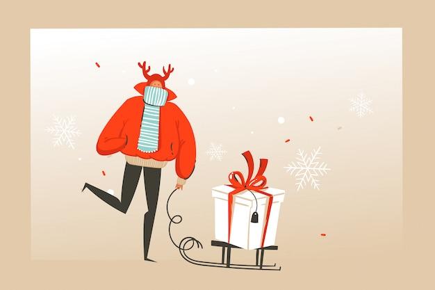 Divertimento disegnato a mano astratto merry christmas tempo cartoon illustrazione biglietto di auguri con la gente felice del mercato di natale, regali e copia spazio posto per il vostro testo su sfondo artigianale.