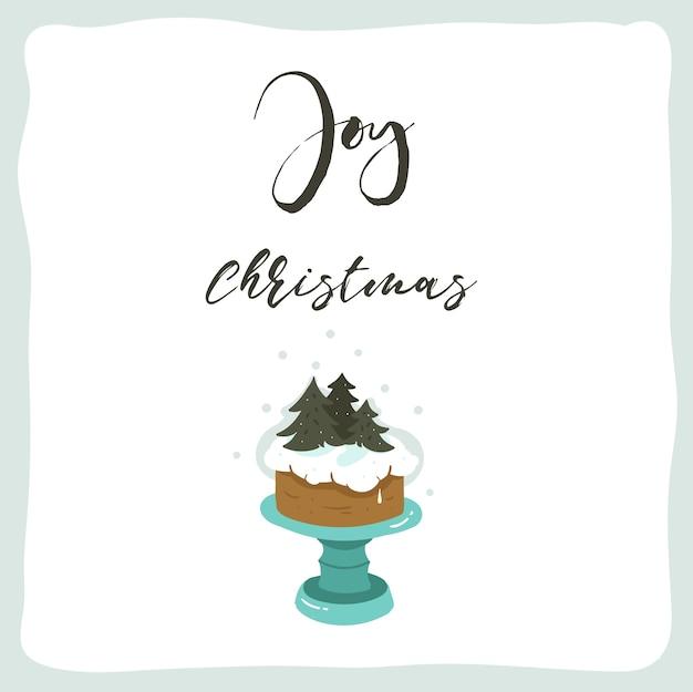 Manifesto delle illustrazioni del fumetto di tempo di buon natale di divertimento astratto disegnato a mano con il basamento della torta di festa e il testo scritto a mano moderno di calligrafia joy christmas isolato su fondo bianco.