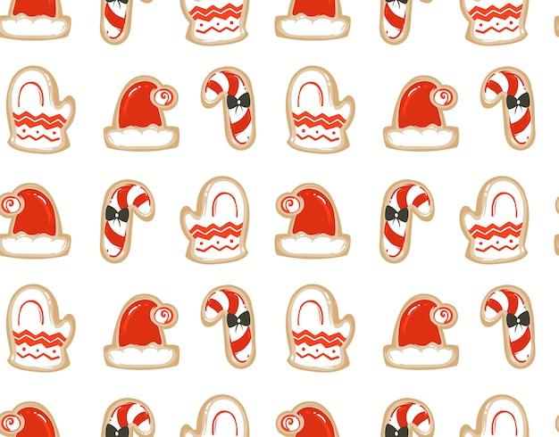 Divertimento astratto disegnato a mano buon natale tempo fumetto illustrazioni seamless pattern con biscotti di pan di zenzero al forno isolati su priorità bassa bianca.