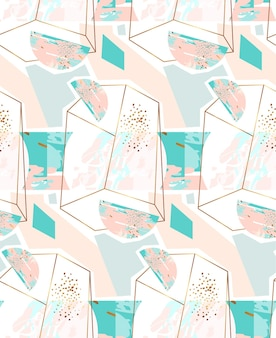 Modello senza cuciture geometrico astratto disegnato a mano con terrario di cristallo