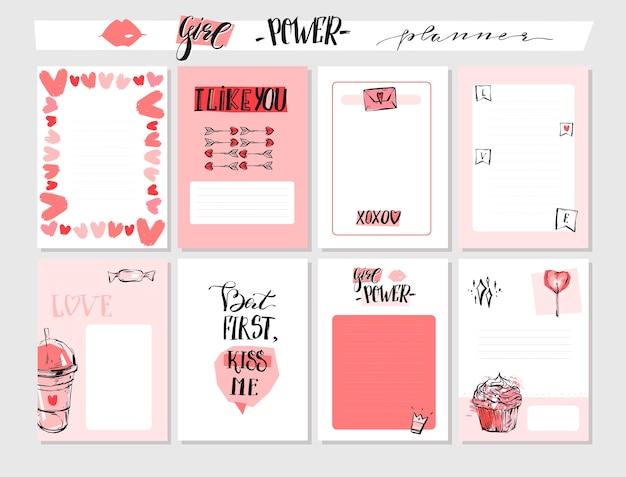 Collezione di cartoline d'auguri di san valentino grafica astratta disegnata a mano