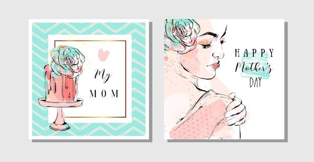 Cartoline d'auguri astratte disegnate a mano con calligrafia happy mothers day e figura di donna con fiore astratto.