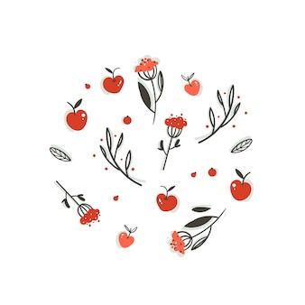 Insieme di elementi di decorazione grafica autunno del fumetto astratto saluto disegnato a mano con bacche, foglie, rami e raccolta delle mele su priorità bassa bianca.