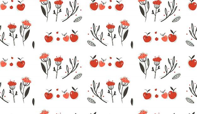 Disegnato a mano astratto saluto fumetto autunno decorazione grafica seamless pattern con bacche, foglie, rami e raccolta delle mele su sfondo bianco