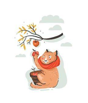 Illustrazione di autunno del fumetto di saluto astratto disegnato a mano con il carattere di contadino gatto carino raccolto la raccolta delle mele con bacche, foglie e rami isolati su priorità bassa bianca.
