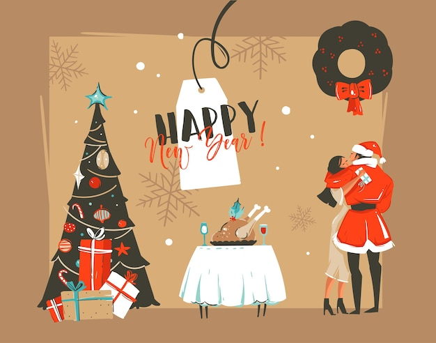 Illustrazioni disegnate a mano astratte del fumetto di tempo di felice anno nuovo