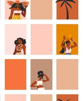 Illustrazione astratta disegnata a mano con il modello senza cuciture di stile di vita delle giovani donne afroamericane felici