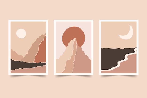 Collezione di copertine di paesaggi astratti disegnati a mano Vettore Premium