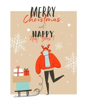 Illustrazioni disegnate a mano astratte del fumetto di tempo di buon natale e felice anno nuovo