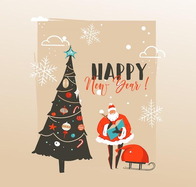 Disegnato a mano astratto buon natale e felice anno nuovo tempo
