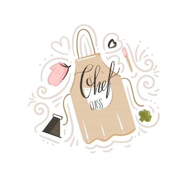 Distintivo del manifesto di illustrazioni di classe di cottura del fumetto moderno astratto disegnato a mano con grembiule da cucina, utensili e calligrafia moderna scritta a mano di classe chef su priorità bassa bianca