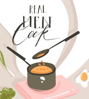 Manifesto delle illustrazioni della classe di cucina del fumetto moderno astratto disegnato a mano con la scena della preparazione del cibo, la casseruola, il cucchiaio e il testo scritto a mano di calligrafia gli uomini veri cucinano isolato su fondo bianco.
