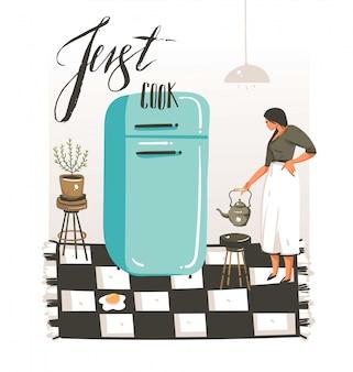 Manifesto moderno disegnato a mano delle illustrazioni della classe di cottura del fumetto con il retro cuoco unico della donna dell'annata, frigorifero e calligrafia scritta a mano cucini appena su fondo bianco