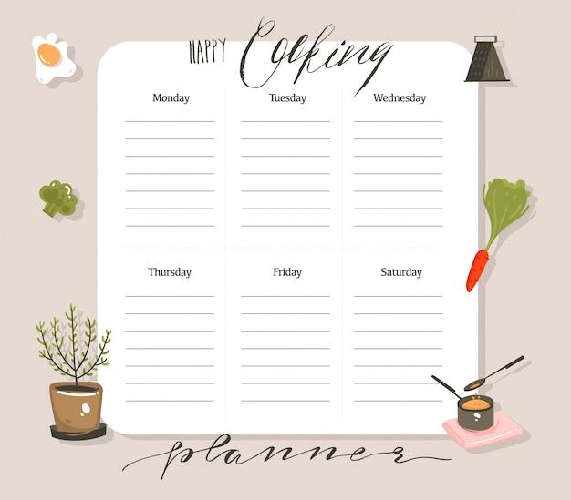 Disegnati a mano cartoon moderno astratto cucina studio illustrazioni di classe settimanale pianificatore di cucina e ricetta card templete con calligrafia a mano citazioni isolato su sfondo bianco
