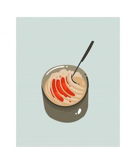 Fumetto moderno astratto disegnato a mano tempo di cottura divertente icona illustrazioni con grande padella con pasta spaghetti isolato su priorità bassa bianca.