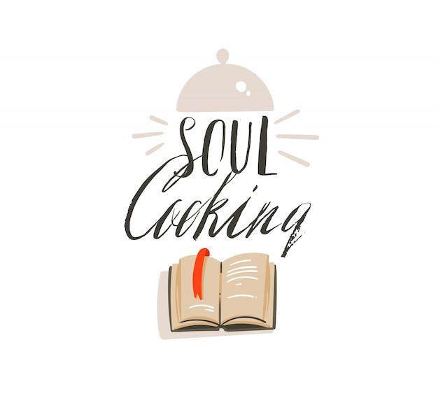 Icone moderne astratte disegnate a mano delle illustrazioni di divertimento di tempo di cottura del fumetto che segnano logo con la cottura dell'attrezzatura, del libro di cucina e dell'anima che cucinano calligrafia su fondo bianco