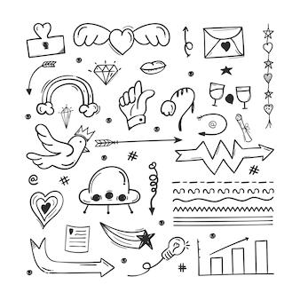 Elementi di scarabocchio scarabocchi astratti disegnati a mano. utilizzato per il concept design isolato su sfondo bianco