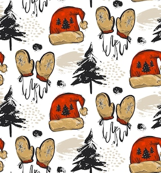 Reticolo di natale senza giunte astratto disegnato a mano con alberi di natale, cappello rosso della santa dei vestiti di natale e guanti rossi isolati su priorità bassa bianca.decorazione del modello all'aperto di natale.