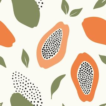 Modello senza cuciture astratto disegnato a mano con papaya