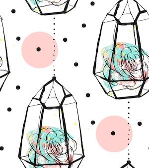 Modello senza cuciture astratto disegnato a mano con terrario ruvido, trama a pois e piante succulente nei colori pastelli su bakground bianco. per decorazione, moda, tessuto, avvolgimento.