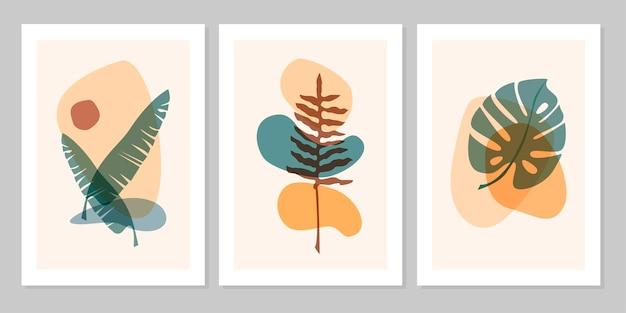 Insieme astratto disegnato a mano foglia tropicale boho con forma di colore isolato su sfondo beige. illustrazione piana di vettore. design per motivo, logo, poster, invito, biglietto di auguri