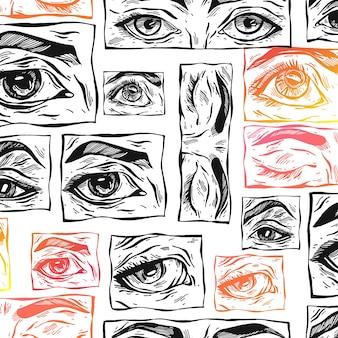 Modello senza cuciture di schizzo astratto disegnato a mano con occhi mistici femminili e forme di collage con texture semplici