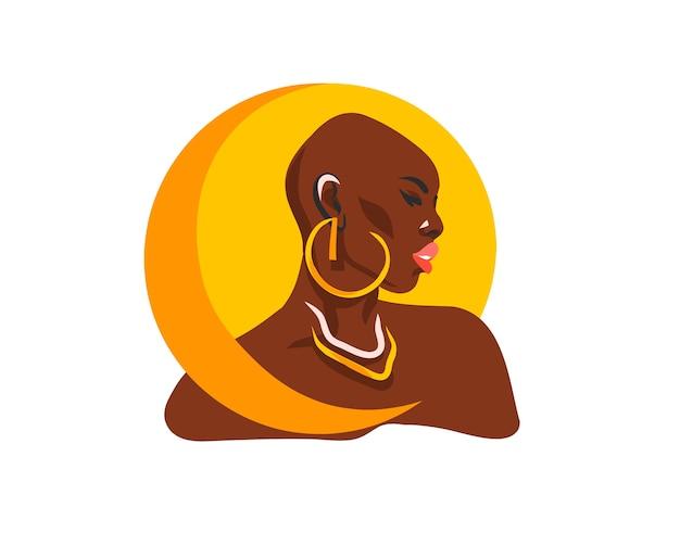 Disegnato a mano astratto stock piatto grafico illustrazione con donna afro-americana nera tribale etnica e luna piena dorata, isolato su sfondo bianco.
