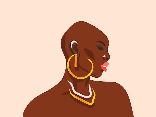 Disegnato a mano astratto stock piatto grafico illustrazione con bella donna afroamericana nera tribale etnica e stile semplice orecchini d'oro, isolato su priorità bassa bianca