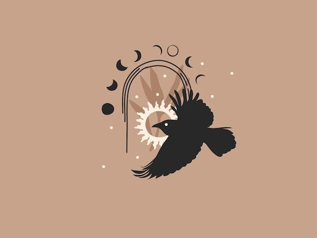 Illustrazione grafica piatta astratta disegnata a mano con elementi di logo, corvo, sole e fasi lunari in arco, arte linea magica in stile semplice per il branding, isolato su sfondo colorato.