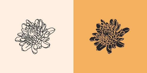 Illustrazione grafica piatta astratta disegnata a mano con set di elementi di logo, fiori di linea autunnale di crisantemo e silhouette, arte magica in stile semplice