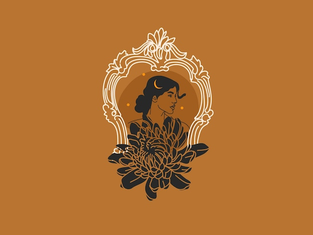 Illustrazione grafica piatta astratta disegnata a mano con elementi di logo, ritratto di donna, luna e crisantemo in cornice ad arco, arte magica in stile semplice per il branding, isolato su sfondo colorato.