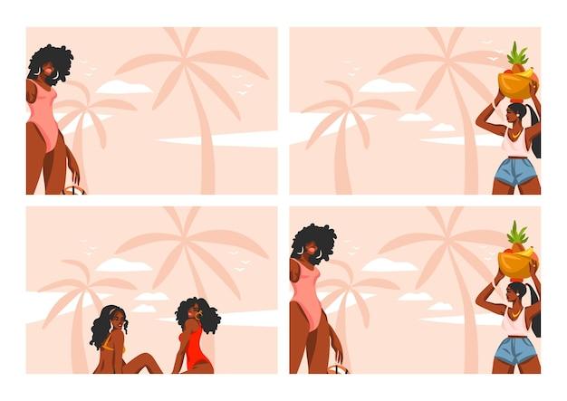 Set di illustrazioni grafiche piatte stock astratte disegnate a mano