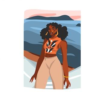 Illustrazione grafica di riserva astratta disegnata a mano con il turista femminile di giovane bellezza afro felice sulla scena della spiaggia del tramonto su fondo bianco.