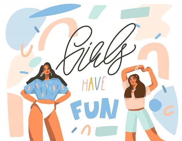Illustrazione grafica di riserva astratta disegnata a mano con giovani femmine positive danzanti felici con le ragazze si divertono, testo scritto a mano di calligrafia sul fondo bianco del collage