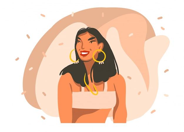 Illustrazione grafica di riserva astratta disegnata a mano con la giovane femmina hawaiana sorridente su fondo bianco